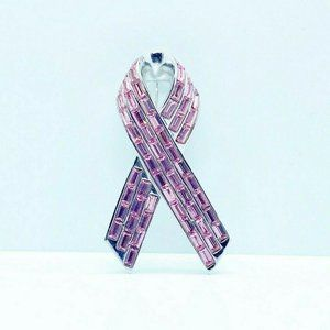 St. John Pink Swarovski Crystal Ribbon Brooch Pin